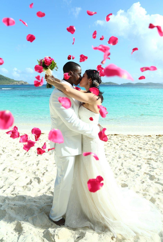 Receiving line rose petals - Caribbean petal toss during elopement