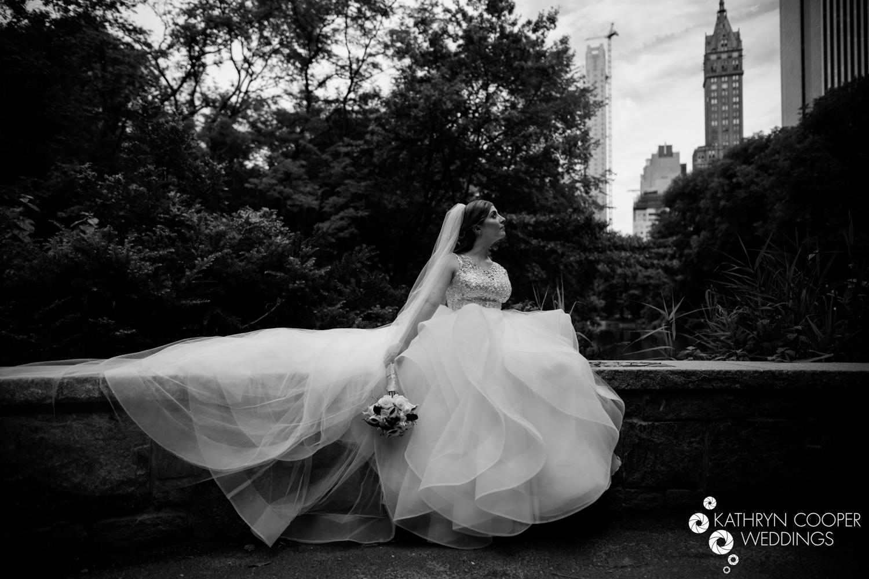 black & white bridal portrait in NYC - pnina tornai dress kleinfeld