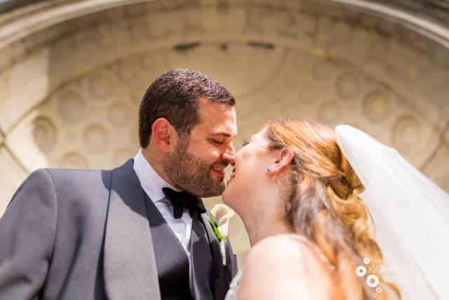 Central Park bandshell wedding photos portraits kissing wedding photographer