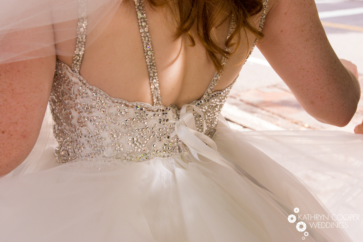 Pnina Tornai gown real bride details on back rhinestones