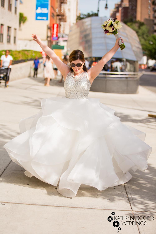 NYC elopement photographer subway bride celebrating marriage