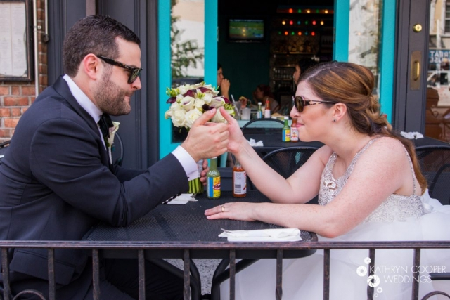 Couple eating mexican food for wedding day in upper east side