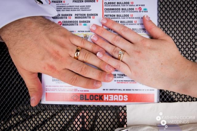 Wedding rings with margarita wedding day