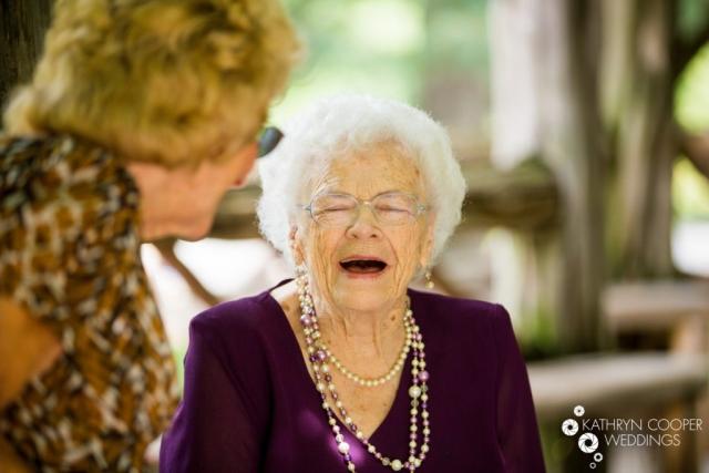 Grandma laughing at wedding