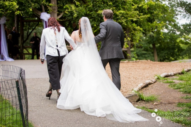 Klienfeld gown and veil by Pnina Tornai in New York City