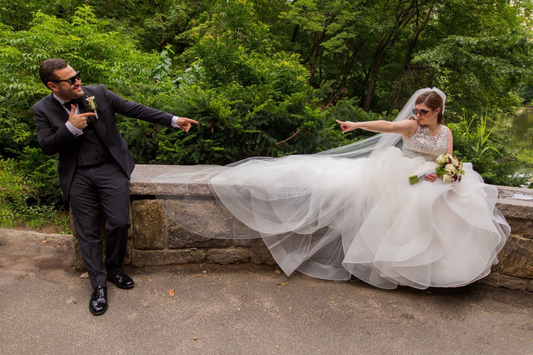 Central Park elopement with fun wedding photographer bride and groom
