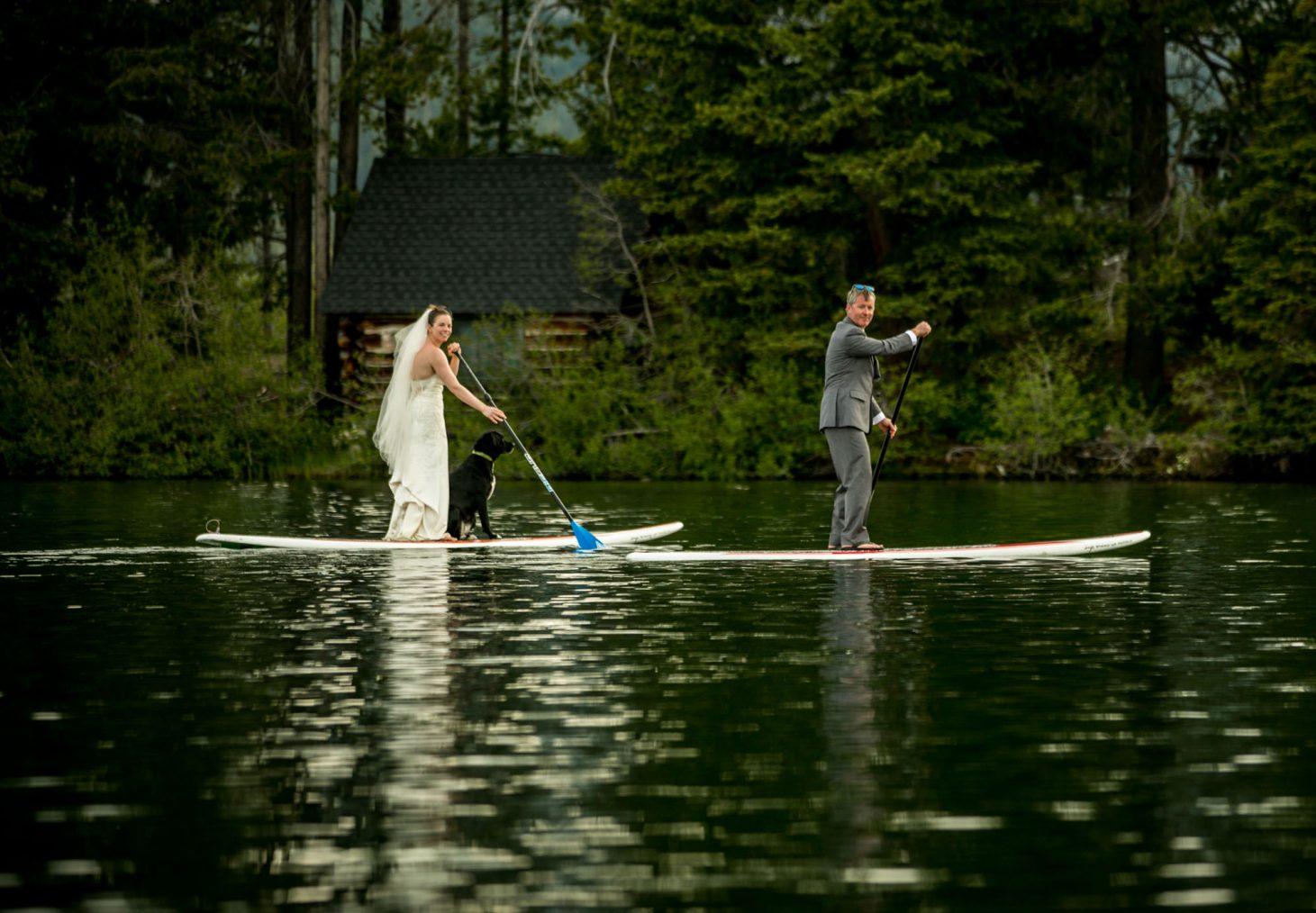 SUP wedding - Kathryn Cooper Weddings couple on SUP Idaho Sawtooth
