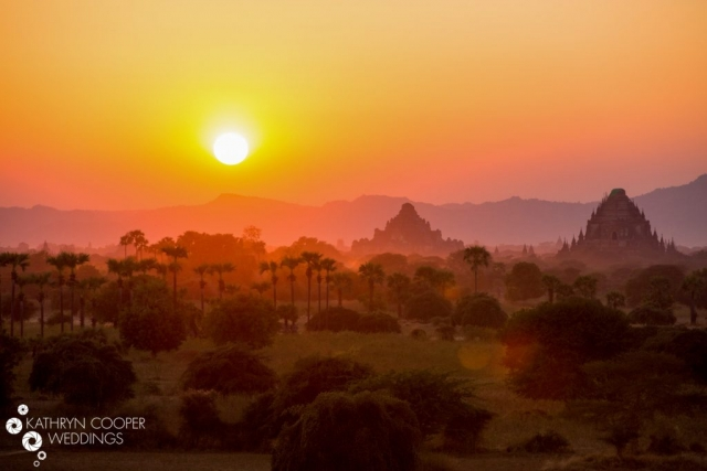 Bagan temple palm trees sunset pictures Kathryn Cooper