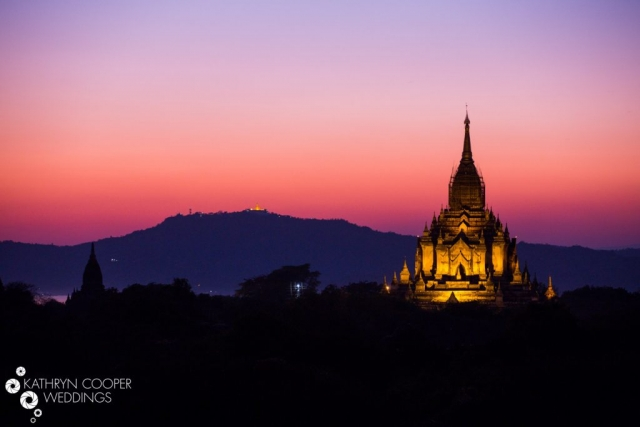 Bagan Myanmar sunset at a temple unique wedding location