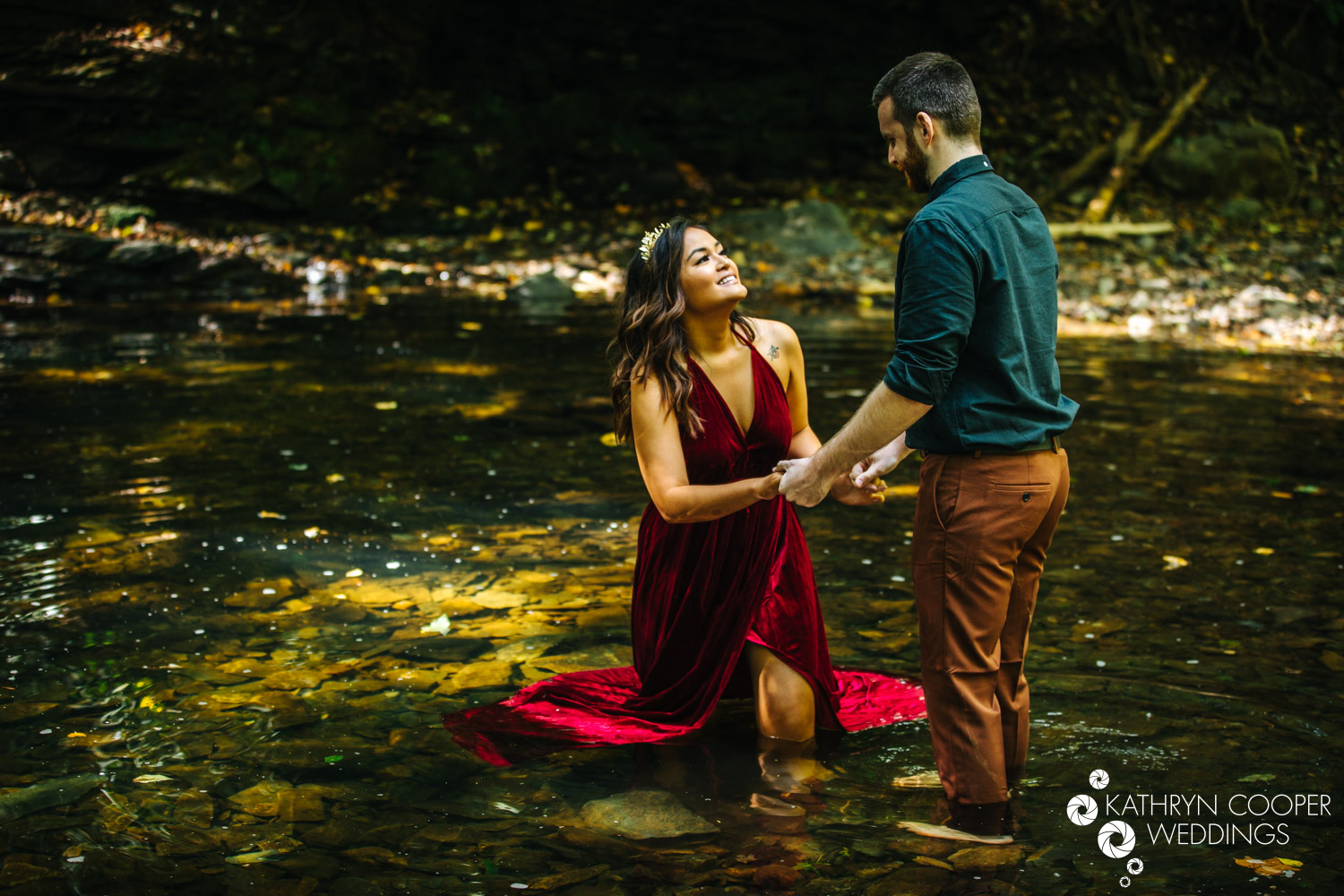Engagement photo session in the water in Bucks County PA