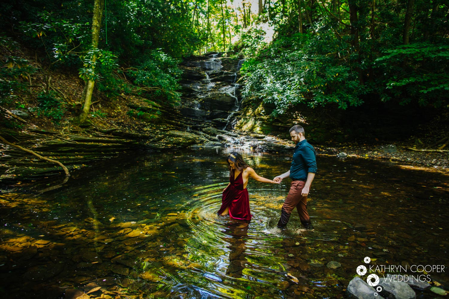 Pennsylvania waterfall engagement adventure session