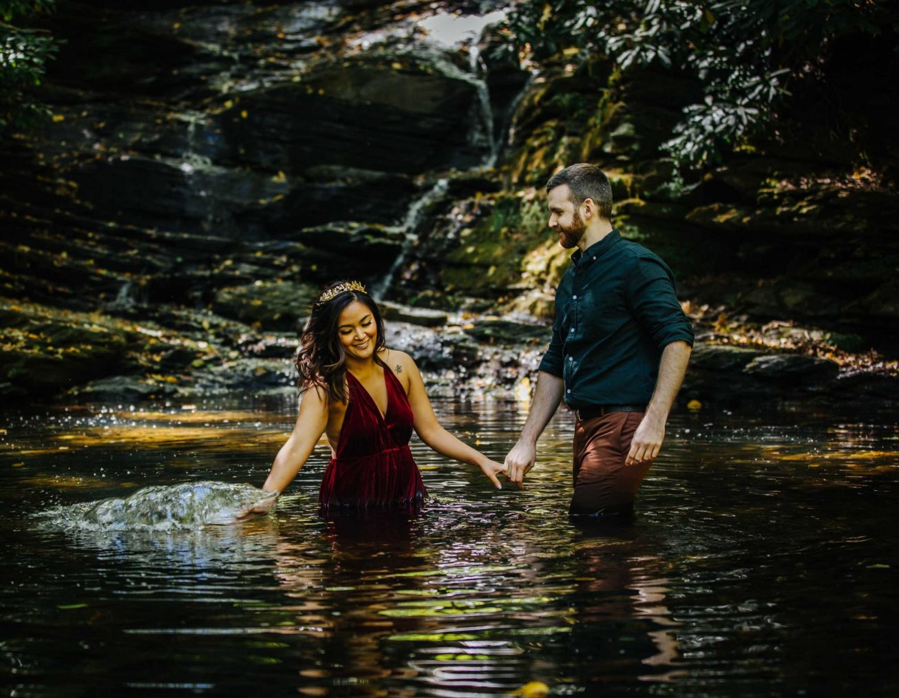 Engagement photo ideas Pennsylvania wedding photographer couple in water