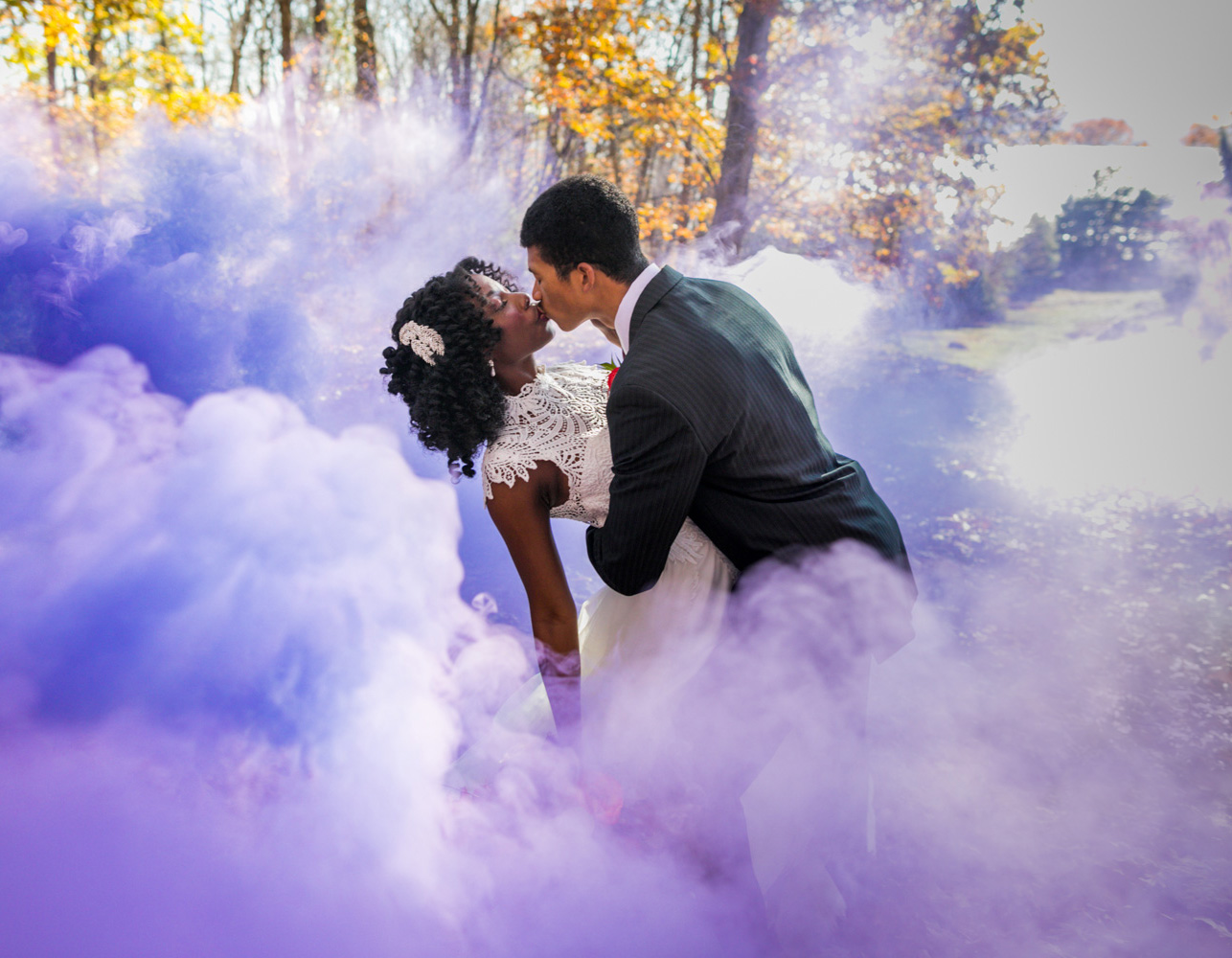 purple smoke black couple westchester wedding