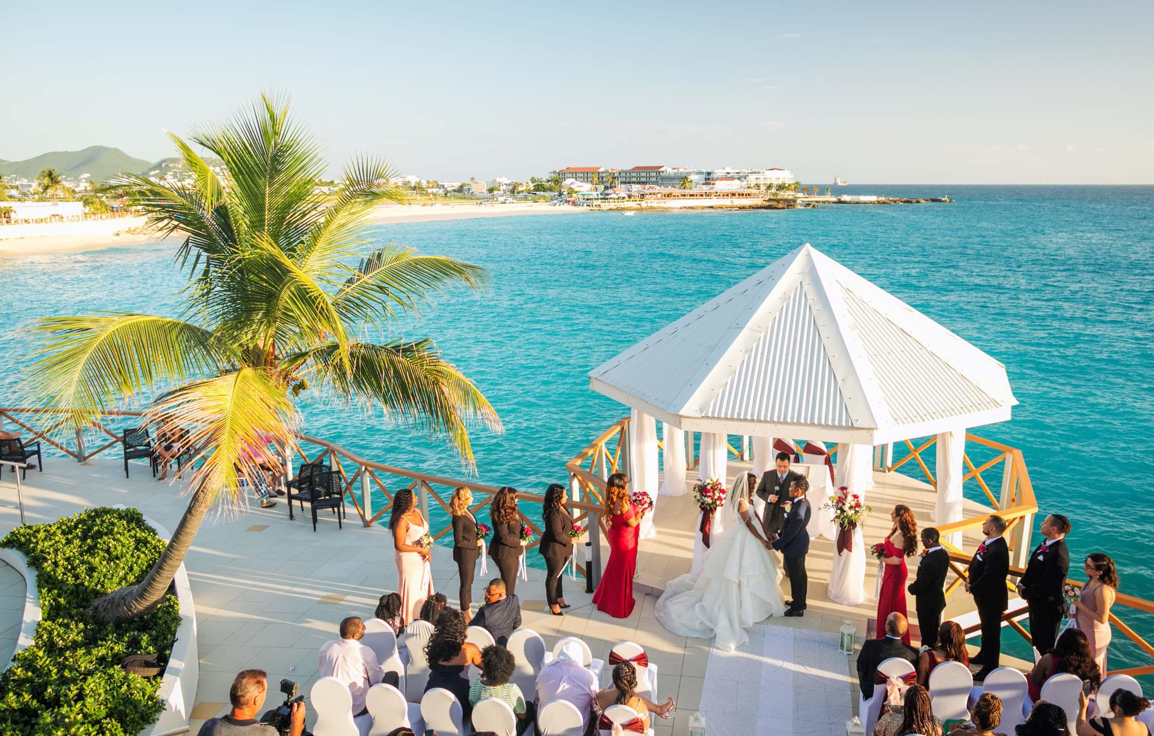 Destination wedding photos Sint Maarten tropical