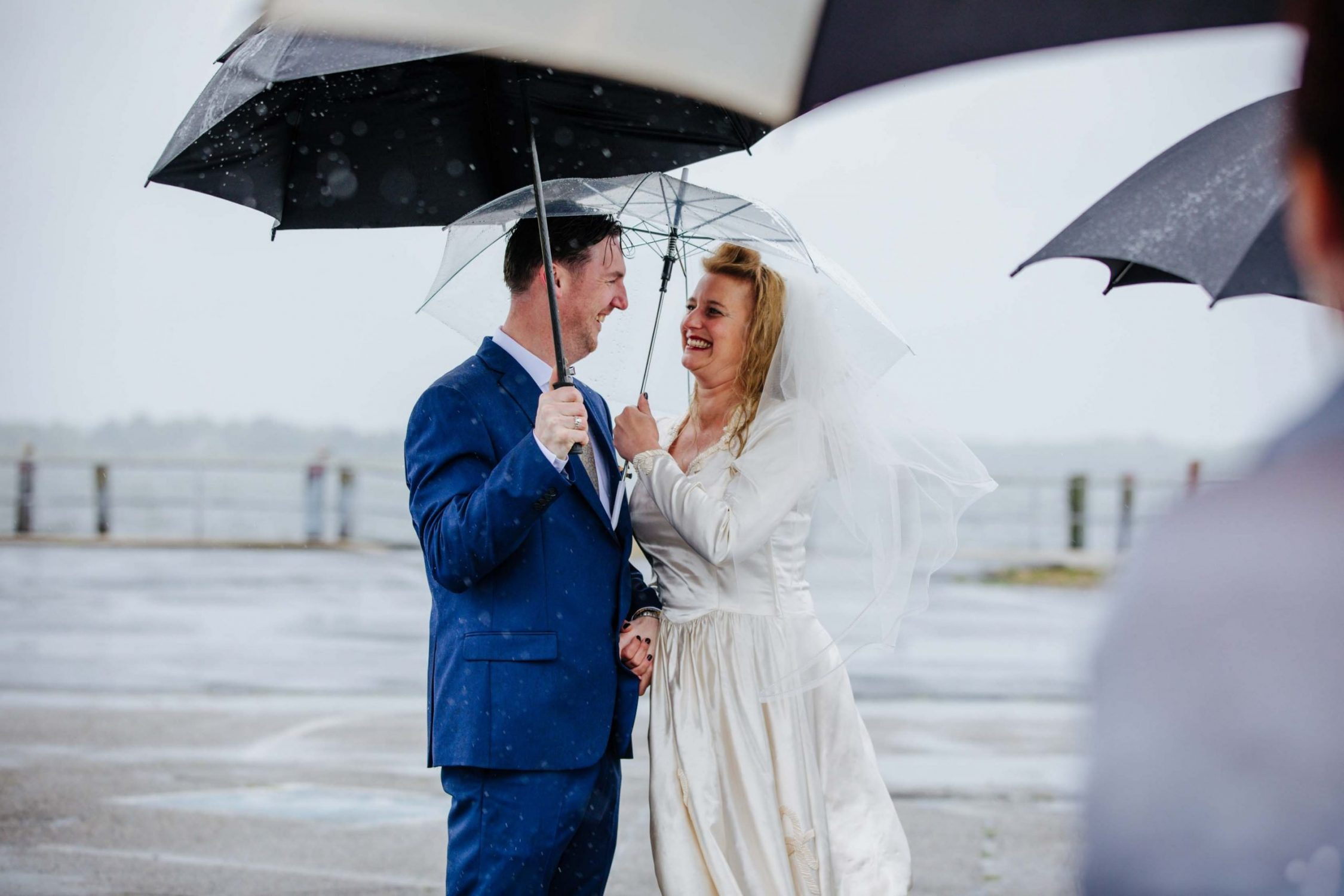 Couple married in rain
